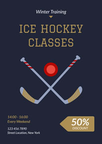 Ice Hockey Training Classes Discount Poster design