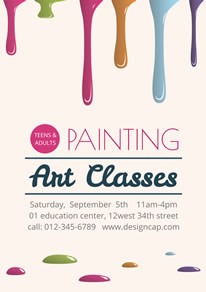 Pink Painting Art Classes Poster design