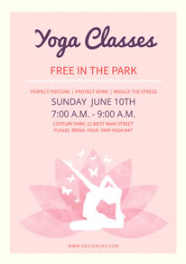 Pink Yoga Classes Poster design