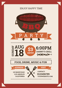 Red and White Grill Bbq Party Flyer design