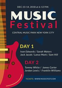 Red Guitar Music Festival Flyer design