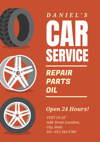 Red Tyre Car Service Poster design