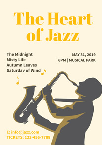 Saxophone Performer Jazz Concert Flyer design