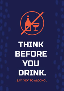Simple Blue Background and White Words Alcohol Poster design