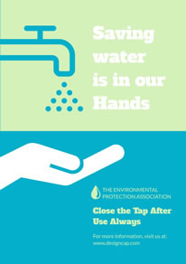 Simple Blue Save Water Poster design