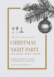 Simple Christmas Night Party Poster design