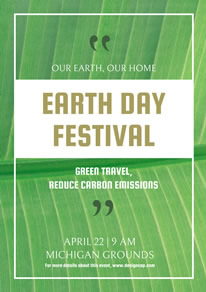 Simple Green Earth Day Poster design