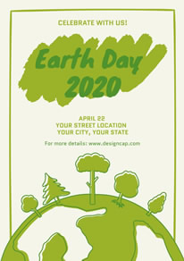 White and Green Earth Day Poster design