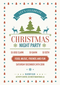 White Decorative Christmas Night Party Flyer design