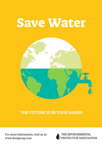 Yellow Earth Save Water Poster design