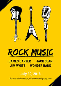 Yellow Guitar and Microphone Rock Music Poster design