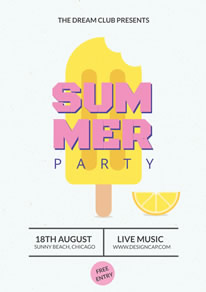 Yellow Popsicle Summer Party Poster design