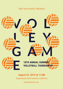 Yellow Volleyball Tournament Poster design